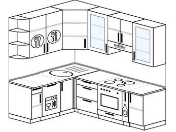 Угловая кухня 5,5 м² (1,6✕2,2 м), верхние модули 920 мм, посудомоечная машина, встроенный духовой шкаф