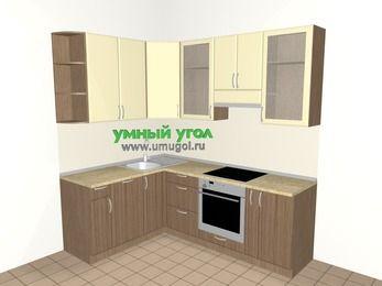 Угловая кухня МДФ матовый 5,5 м², 1600 на 2200 мм (зеркальный проект), Ваниль / Лиственница бронзовая, верхние модули 920 мм, посудомоечная машина, встроенный духовой шкаф