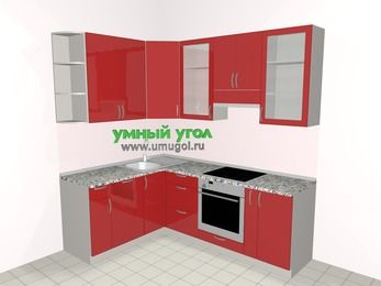 Угловая кухня МДФ глянец 5,5 м², 1600 на 2200 мм (зеркальный проект), Красный: верхние модули 920 мм, посудомоечная машина, встроенный духовой шкаф, корзина-бутылочница
