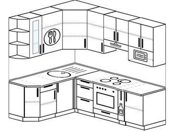 Угловая кухня 5,5 м² (1,6✕2,2 м), верхние модули 920 мм, модуль под свч, встроенный духовой шкаф