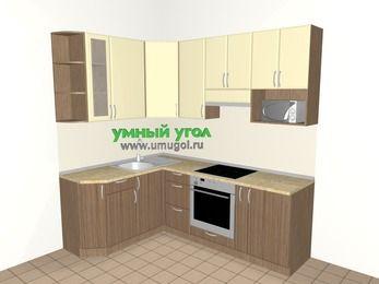 Угловая кухня МДФ матовый 5,5 м², 1600 на 2200 мм (зеркальный проект), Ваниль / Лиственница бронзовая, верхние модули 920 мм, модуль под свч, встроенный духовой шкаф