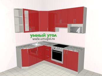Угловая кухня МДФ глянец 5,5 м², 1600 на 2200 мм (зеркальный проект), Красный, верхние модули 920 мм, модуль под свч, встроенный духовой шкаф