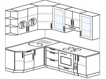 Угловая кухня 5,5 м² (1,6✕2,2 м), верхние модули 920 мм, встроенный духовой шкаф