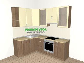 Угловая кухня МДФ матовый 5,5 м², 1600 на 2200 мм (зеркальный проект), Ваниль / Лиственница бронзовая, верхние модули 920 мм, встроенный духовой шкаф