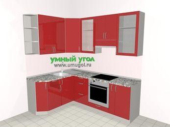 Угловая кухня МДФ глянец 5,5 м², 1600 на 2200 мм (зеркальный проект), Красный, верхние модули 920 мм, встроенный духовой шкаф