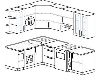 Угловая кухня 5,5 м² (1,6✕2,2 м), верхние модули 920 мм, посудомоечная машина, отдельно стоящая плита