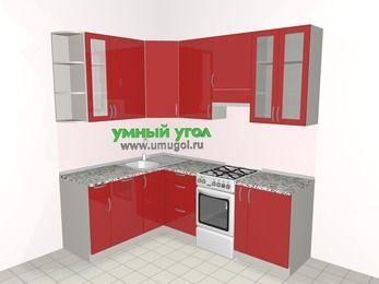 Угловая кухня МДФ глянец 5,5 м², 1600 на 2200 мм (зеркальный проект), Красный, верхние модули 920 мм, посудомоечная машина, отдельно стоящая плита