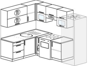 Планировка угловой кухни 5,7 м², 160 на 230 см (зеркальный проект): верхние модули 72 см, корзина-бутылочница, отдельно стоящая плита, холодильник