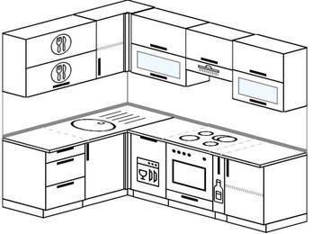 Планировка угловой кухни 5,7 м², 160 на 230 см (зеркальный проект): верхние модули 72 см, посудомоечная машина, встроенный духовой шкаф, корзина-бутылочница