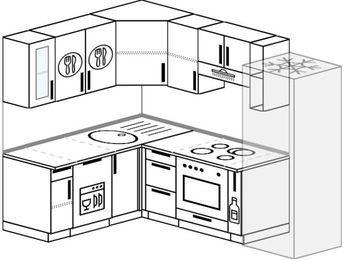 Планировка угловой кухни 5,7 м², 160 на 230 см (зеркальный проект): верхние модули 72 см, посудомоечная машина, встроенный духовой шкаф, корзина-бутылочница, холодильник