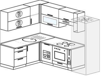Планировка угловой кухни 6,0 м², 160 на 240 см (зеркальный проект): верхние модули 72 см, посудомоечная машина, встроенный духовой шкаф, корзина-бутылочница, холодильник