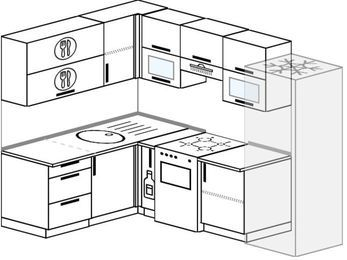 Планировка угловой кухни 6,0 м², 160 на 240 см (зеркальный проект): верхние модули 72 см, корзина-бутылочница, отдельно стоящая плита, холодильник