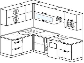 Планировка угловой кухни 6,0 м², 160 на 240 см (зеркальный проект): верхние модули 72 см, корзина-бутылочница, отдельно стоящая плита, верхний модуль под свч