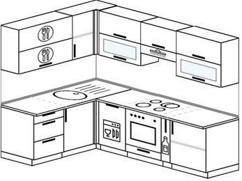 Планировка угловой кухни 6,0 м², 160 на 240 см (зеркальный проект): верхние модули 72 см, посудомоечная машина, встроенный духовой шкаф, корзина-бутылочница