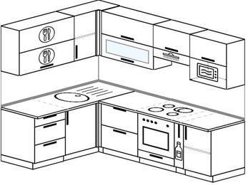 Планировка угловой кухни 6,0 м², 160 на 240 см (зеркальный проект): верхние модули 72 см, встроенный духовой шкаф, корзина-бутылочница, верхний модуль под свч