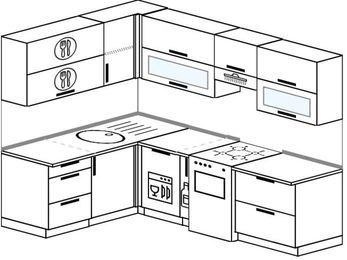 Планировка угловой кухни 6,0 м², 160 на 240 см (зеркальный проект): верхние модули 72 см, посудомоечная машина, корзина-бутылочница, отдельно стоящая плита