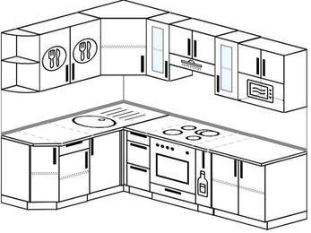 Планировка угловой кухни 6,0 м², 160 на 240 см (зеркальный проект): верхние модули 72 см, встроенный духовой шкаф, корзина-бутылочница, модуль под свч