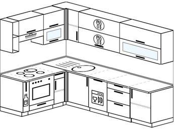 Планировка угловой кухни 7,0 м², 160 на 260 см: верхние модули 72 см, корзина-бутылочница, встроенный духовой шкаф, посудомоечная машина