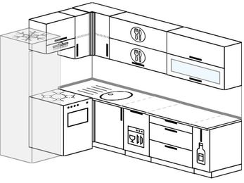 Планировка угловой кухни 7,0 м², 160 на 260 см: верхние модули 72 см, холодильник, отдельно стоящая плита, посудомоечная машина, корзина-бутылочница