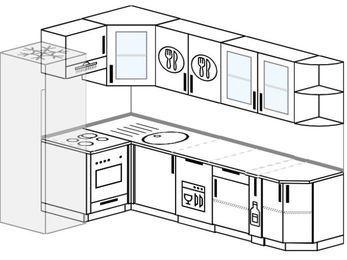 Планировка угловой кухни 7,0 м², 160 на 260 см: верхние модули 72 см, холодильник, встроенный духовой шкаф, посудомоечная машина, корзина-бутылочница