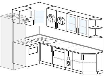 Планировка угловой кухни 7,0 м², 160 на 260 см: верхние модули 72 см, холодильник, отдельно стоящая плита, корзина-бутылочница