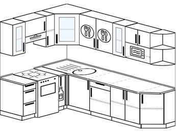 Планировка угловой кухни 7,0 м², 160 на 260 см: верхние модули 72 см, отдельно стоящая плита, корзина-бутылочница, модуль под свч