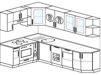 Планировка угловой кухни 7,0 м², 160 на 260 см: верхние модули 72 см, встроенный духовой шкаф, корзина-бутылочница, посудомоечная машина