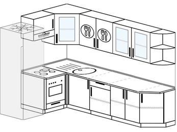 Планировка угловой кухни 7,0 м², 160 на 260 см: верхние модули 72 см, холодильник, встроенный духовой шкаф