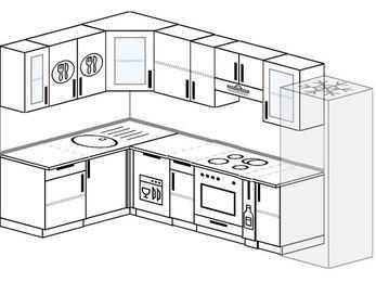 Угловая кухня 7,5 м² (1,6✕3,0 м), верхние модули 72 см, посудомоечная машина, встроенный духовой шкаф, холодильник
