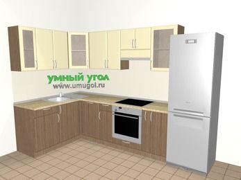 Угловая кухня МДФ матовый 7,5 м², 1600 на 3000 мм (зеркальный проект), Ваниль / Лиственница бронзовая, верхние модули 720 мм, посудомоечная машина, встроенный духовой шкаф, холодильник