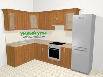 Угловая кухня МДФ матовый в классическом стиле 7,5 м², 160 на 300 см (зеркальный проект), Вишня, верхние модули 72 см, посудомоечная машина, встроенный духовой шкаф, холодильник