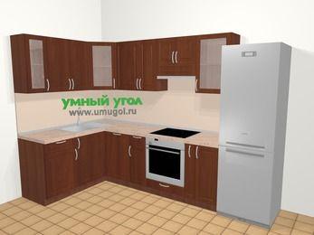 Угловая кухня МДФ матовый в классическом стиле 7,5 м², 160 на 300 см (зеркальный проект), Вишня темная, верхние модули 72 см, посудомоечная машина, встроенный духовой шкаф, холодильник