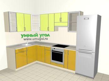 Кухни пластиковые угловые 7,5 м², 1600 на 3000 мм (зеркальный проект), Желтый Альтамир глянец / Желтый глянец, верхние модули 720 мм, посудомоечная машина, встроенный духовой шкаф, холодильник