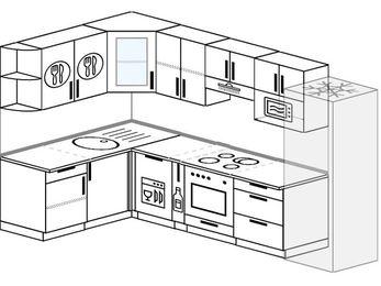 Угловая кухня 7,5 м² (1,6✕3,0 м), верхние модули 72 см, посудомоечная машина, модуль под свч, встроенный духовой шкаф, холодильник