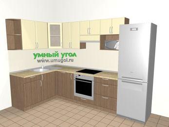 Угловая кухня МДФ матовый 7,5 м², 1600 на 3000 мм (зеркальный проект), Ваниль / Лиственница бронзовая, верхние модули 720 мм, посудомоечная машина, модуль под свч, встроенный духовой шкаф, холодильник