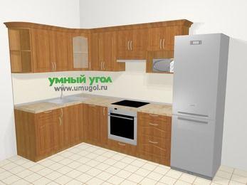 Угловая кухня МДФ матовый в классическом стиле 7,5 м², 160 на 300 см (зеркальный проект), Вишня, верхние модули 72 см, посудомоечная машина, модуль под свч, встроенный духовой шкаф, холодильник