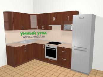 Угловая кухня МДФ матовый в классическом стиле 7,5 м², 160 на 300 см (зеркальный проект), Вишня темная, верхние модули 72 см, посудомоечная машина, модуль под свч, встроенный духовой шкаф, холодильник
