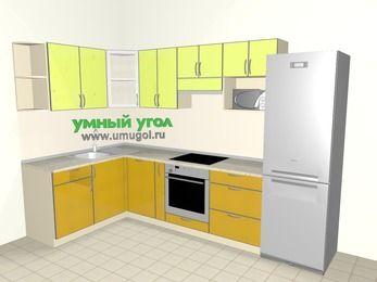 Кухни пластиковые угловые 7,5 м², 1600 на 3000 мм (зеркальный проект), Желтый Альтамир глянец / Желтый глянец, верхние модули 720 мм, посудомоечная машина, модуль под свч, встроенный духовой шкаф, холодильник
