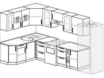 Планировка угловой кухни 7,5 м², 160 на 300 см (зеркальный проект): верхние модули 72 см, отдельно стоящая плита, корзина-бутылочница, холодильник