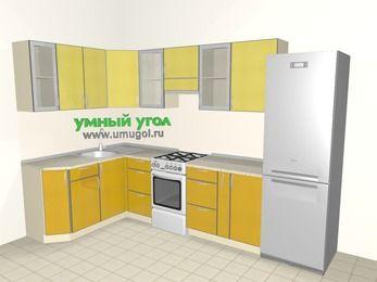 Кухни пластиковые угловые 7,5 м², 1600 на 3000 мм (зеркальный проект), Желтый Альтамир глянец / Желтый глянец: верхние модули 720 мм, отдельно стоящая плита, корзина-бутылочница, холодильник