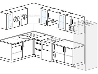 Угловая кухня 7,5 м² (1,6✕3,0 м), верхние модули 72 см, модуль под свч, холодильник, отдельно стоящая плита