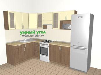 Угловая кухня МДФ матовый 7,5 м², 1600 на 3000 мм (зеркальный проект), Ваниль / Лиственница бронзовая, верхние модули 720 мм, модуль под свч, холодильник, отдельно стоящая плита