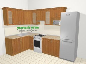 Угловая кухня МДФ матовый в классическом стиле 7,5 м², 160 на 300 см (зеркальный проект), Вишня, верхние модули 72 см, модуль под свч, холодильник, отдельно стоящая плита