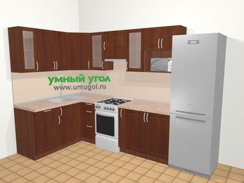 Угловая кухня МДФ матовый в классическом стиле 7,5 м², 160 на 300 см (зеркальный проект), Вишня темная, верхние модули 72 см, модуль под свч, холодильник, отдельно стоящая плита
