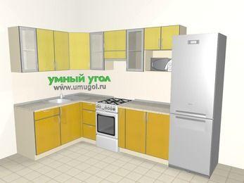 Кухни пластиковые угловые 7,5 м², 1600 на 3000 мм (зеркальный проект), Желтый Альтамир глянец / Желтый глянец, верхние модули 720 мм, модуль под свч, холодильник, отдельно стоящая плита