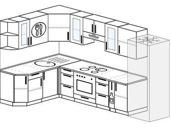 Угловая кухня 7,5 м² (1,6✕3,0 м), верхние модули 720 мм, встроенный духовой шкаф, холодильник
