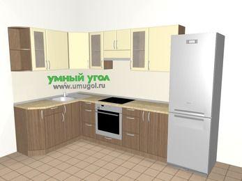 Угловая кухня МДФ матовый 7,5 м², 1600 на 3000 мм (зеркальный проект), Ваниль / Лиственница бронзовая, верхние модули 720 мм, встроенный духовой шкаф, холодильник