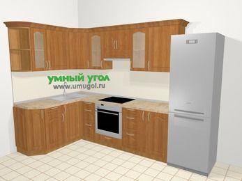 Угловая кухня МДФ матовый в классическом стиле 7,5 м², 160 на 300 см (зеркальный проект), Вишня, верхние модули 72 см, встроенный духовой шкаф, холодильник
