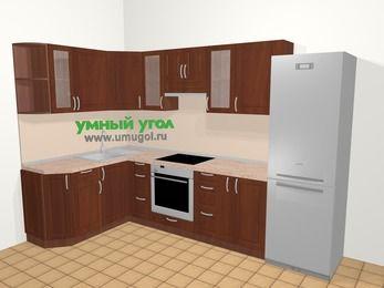Угловая кухня МДФ матовый в классическом стиле 7,5 м², 160 на 300 см (зеркальный проект), Вишня темная, верхние модули 72 см, встроенный духовой шкаф, холодильник