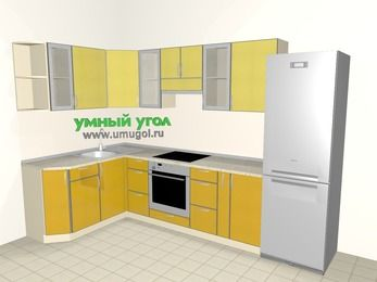 Кухни пластиковые угловые 7,5 м², 1600 на 3000 мм (зеркальный проект), Желтый Альтамир глянец / Желтый глянец, верхние модули 720 мм, встроенный духовой шкаф, холодильник